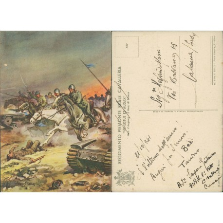 Cartolina Alvaro Mairani reggimento Piemonte reale cavalleria